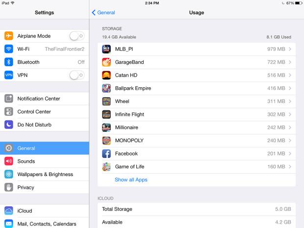Объем памяти iPad