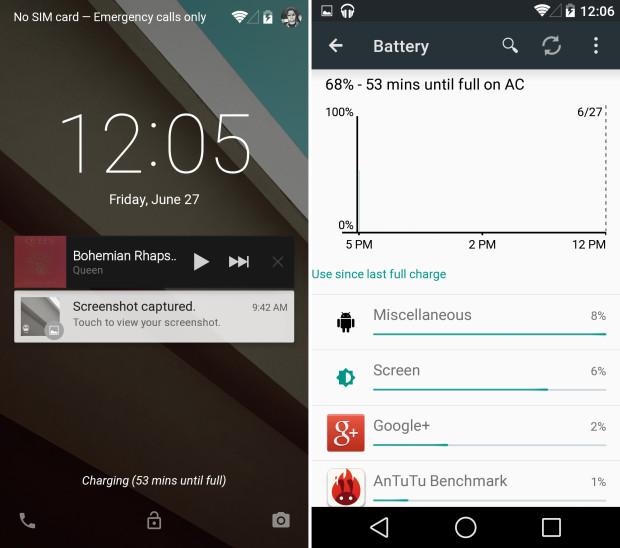 Показания батареи в Android L