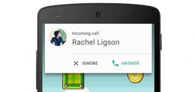 Входящий звонок на Android 5 Lollipop