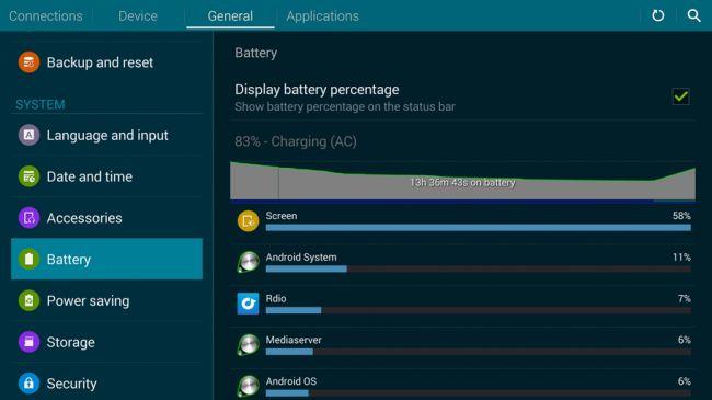 История батареи Galaxy Tab S