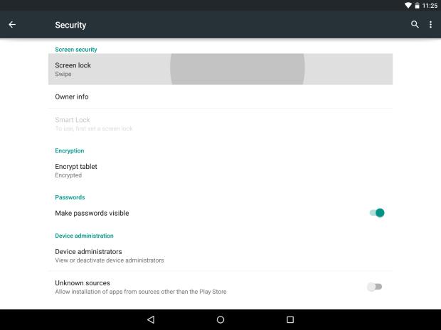 Настройки безопасности Nexus 9