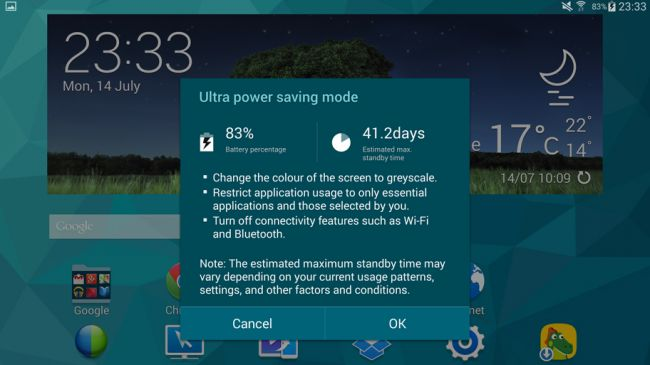 Энергосберегающий режим Galaxy Tab S