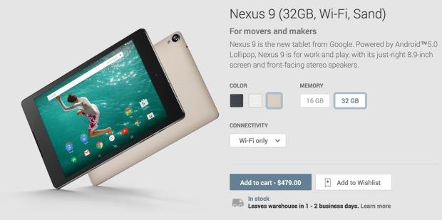 Google Nexus 9 Sand на Google Play