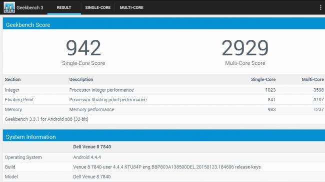 Dell Venue 8 7000 на тестах Geekbench 3