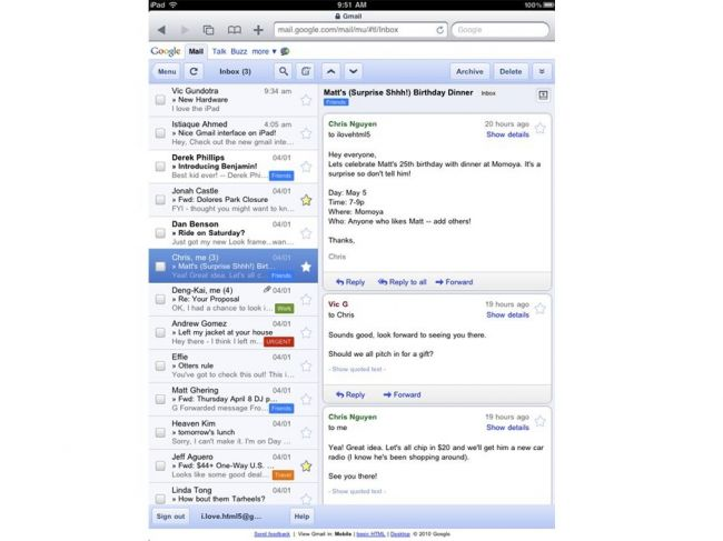 GMail на Apple iPad 3G