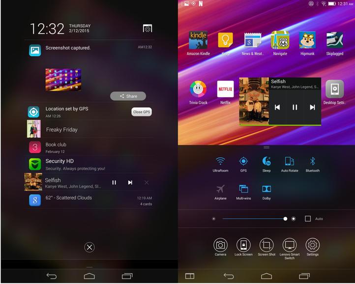 Выпадающие меню Lenovo Yoga Tablet 2 8