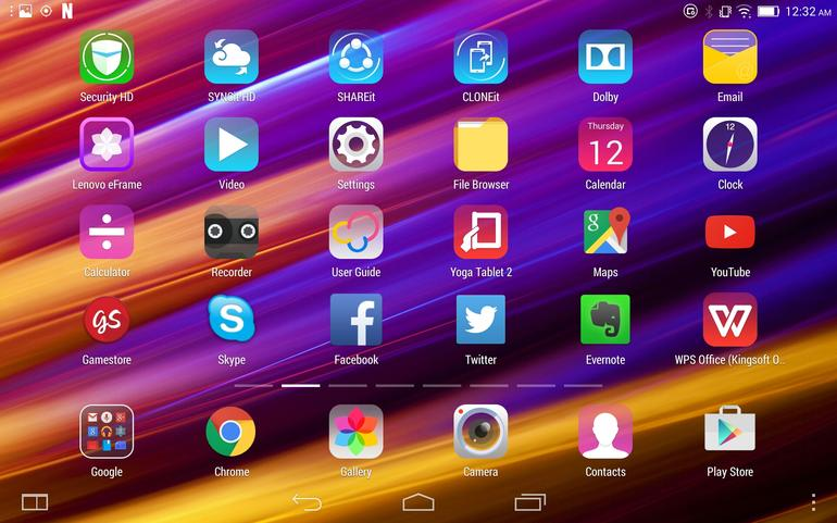 Интерфейс Lenovo Yoga Tablet 2.8