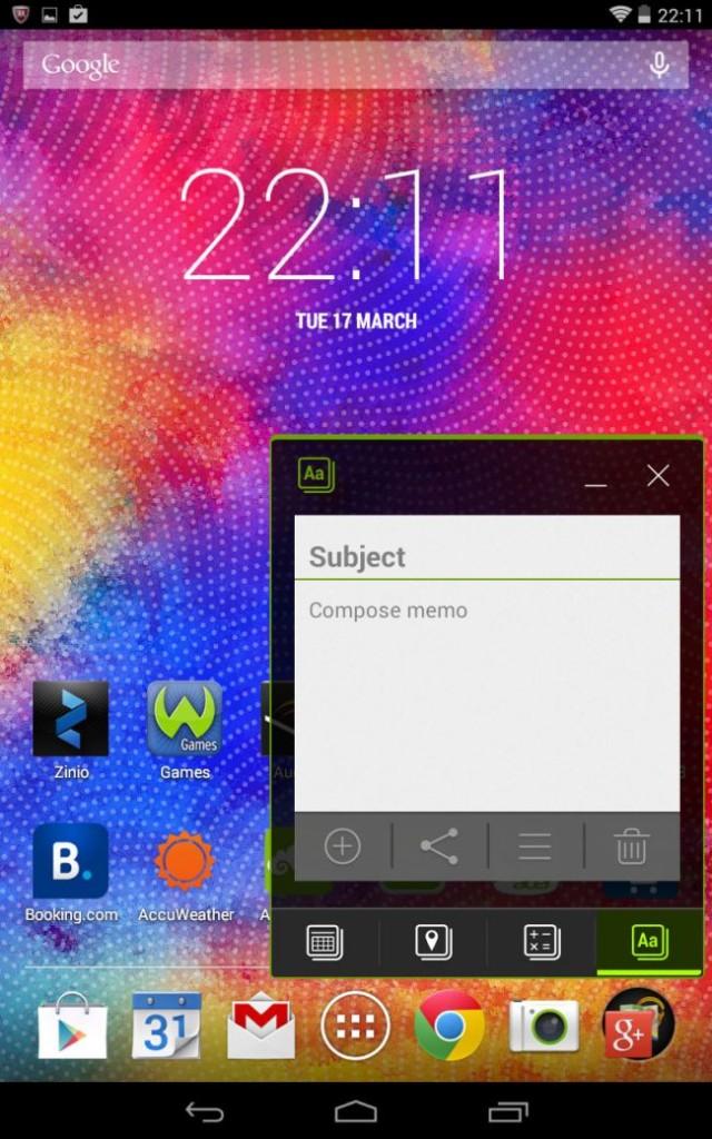 Интерфейс Acer Iconia One 7