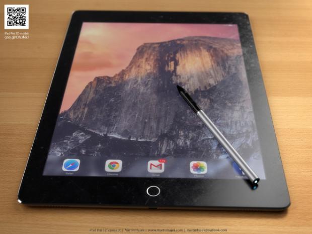 Рендер iPad Pro со стилусом