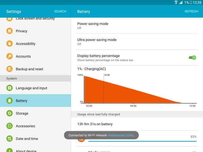 Расход аккумулятора Samsung Galaxy Tab A 9.7