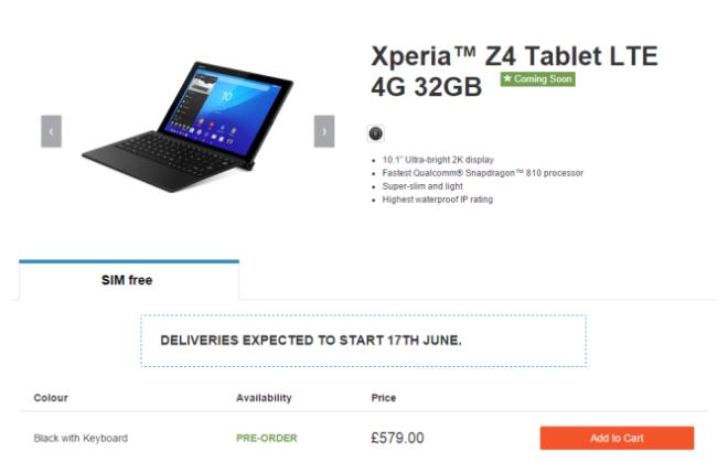 Sony Xperia Z4 Tablet 4G LTE