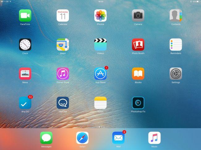 Интерфейс планшета Apple iPad Pro