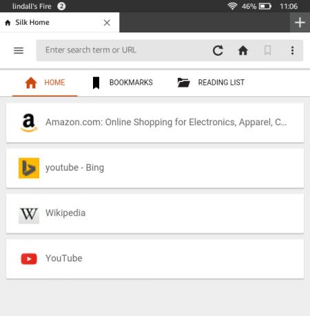 Домашняя страница Amazon Silk