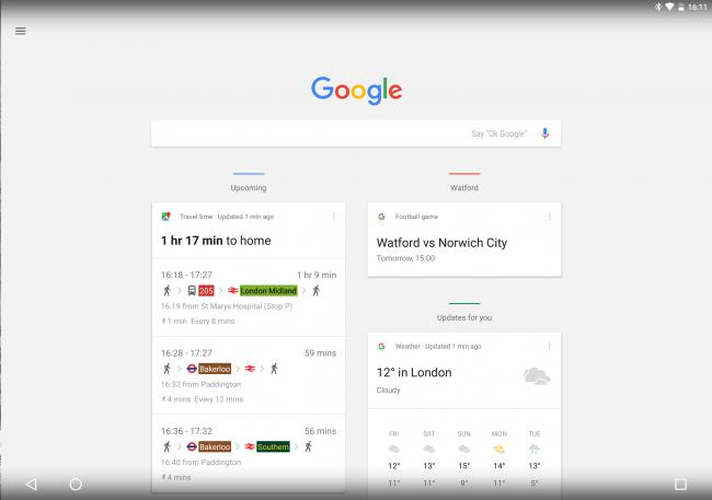 Интерфейс Google Pixel C