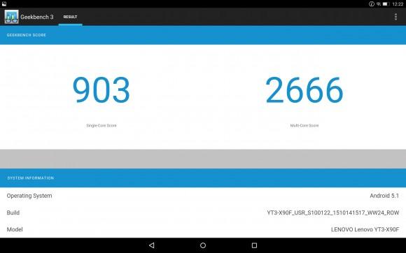 Результаты тестов Geekbench для Yoga Tab 3 Pro