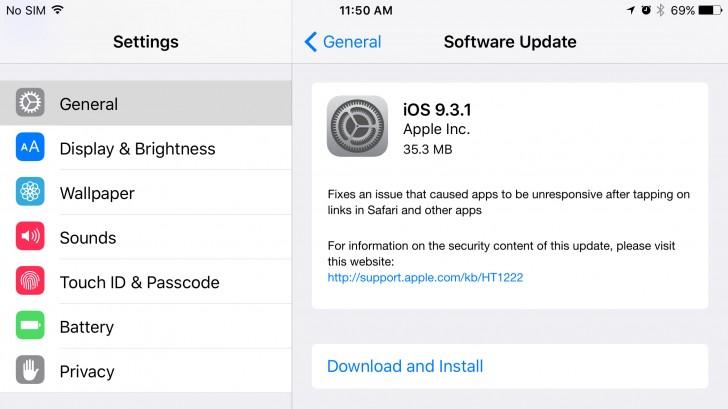 Обновление iOS 9.3.1