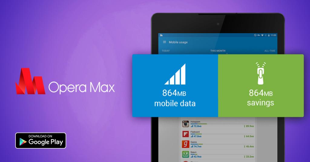 Opera Max на планшет