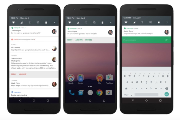 Уведомления Android N