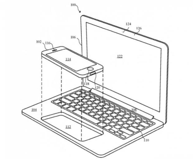 Патент Apple. Док в ноутбуке для iPhone