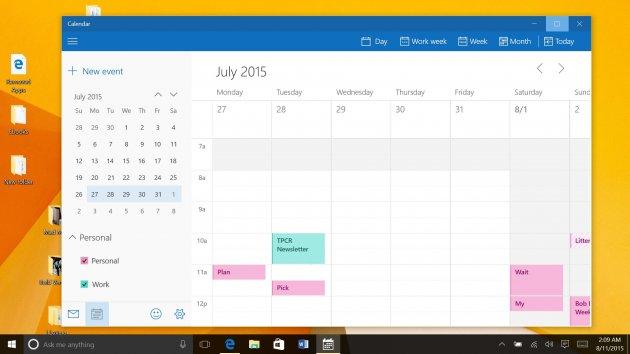 Windows 10 для Планшетов - Календарь