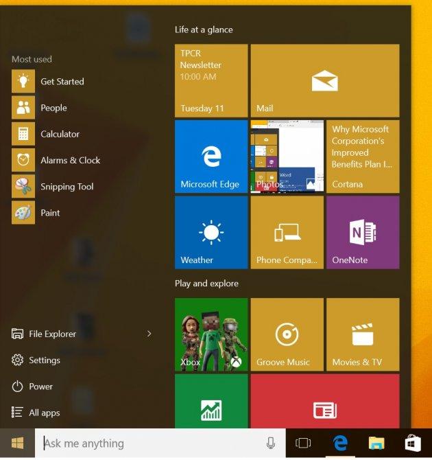 Windows 10 для Планшетов - Пуск