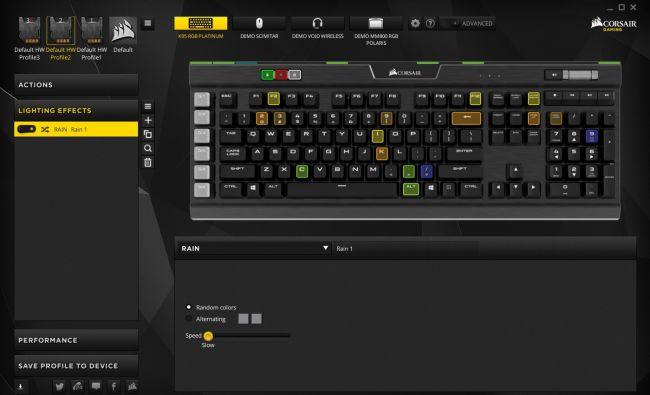 Интерфейс CUE клавиатуры K95 RGB Platinum