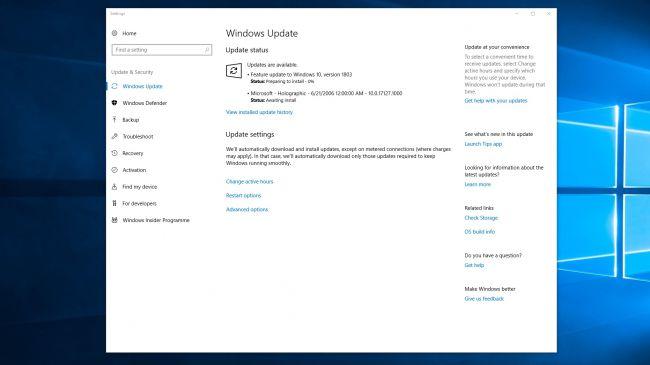 Страница настроек Windows 10 Spring Creators