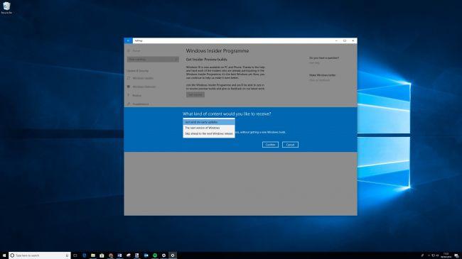 Страница настроек Windows Insider