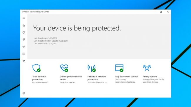 Лучший антивирус - Windows Defender