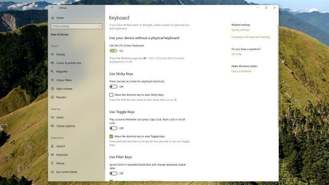 Настройка клавиатуры Windows 10