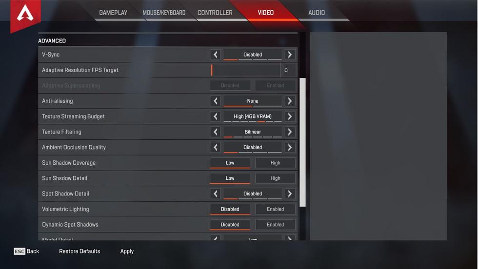 Apex Legends - Низкие настройки