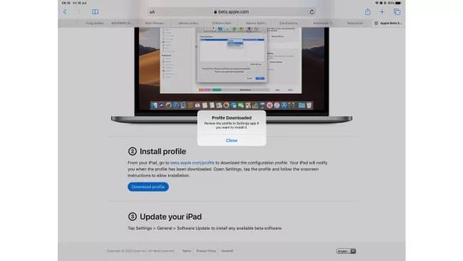 Загрузка бета-профиля iPadOS 14