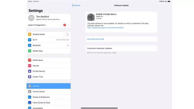 Установка бета-версии iPadOS 14