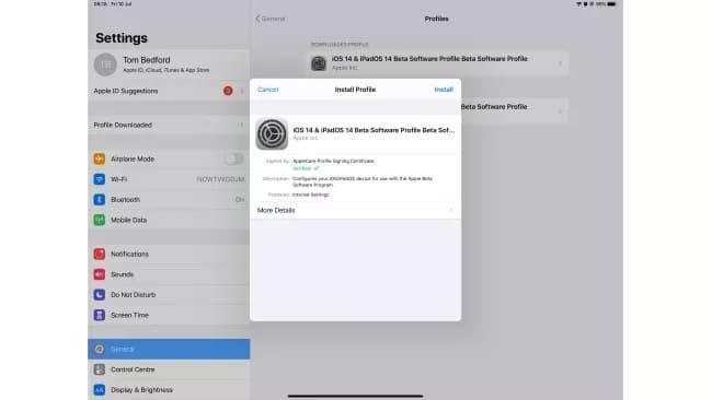 Установка бета-профиля iPadOS 14