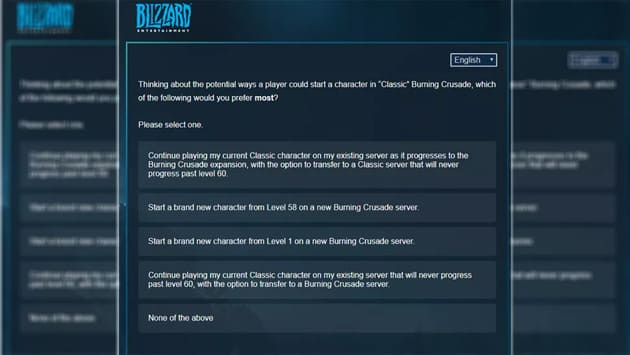 Опрос Blizzard о дополнении The Burning Crusade