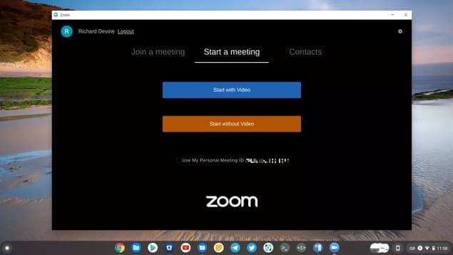 Режимы встречи в Zoom на хромбуке